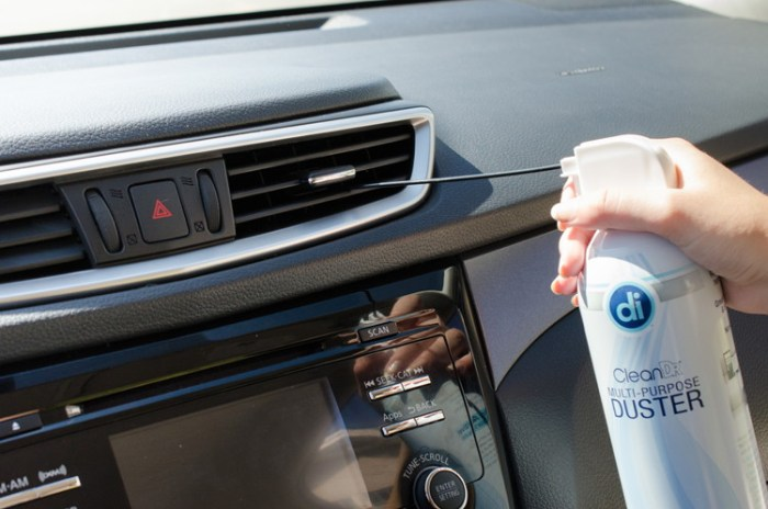 Compressed air into car vents cleaning hack