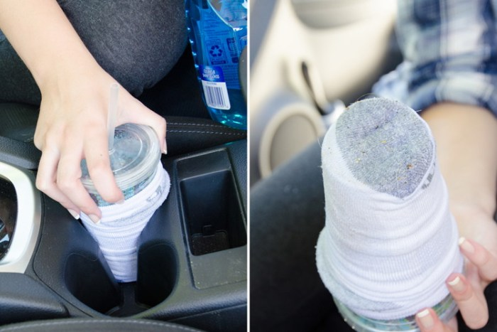 Using a cup, a sock and Windex to clean car's cup holders