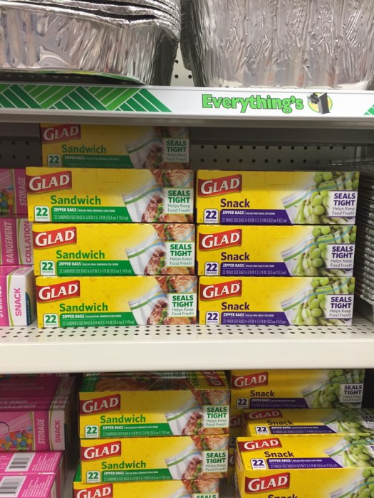 Glad® storage bags being sold in a dollar store.