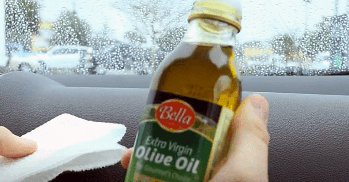 Using olive oil to condition a car's dashboard