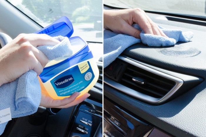 Conditioning a car's dashboard using vaseline