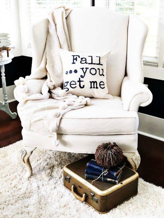 "A DIY pillow with the words ""Fall…you get me"" written on it."