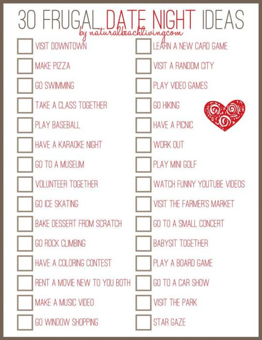 Frugal Date Ideas Printable