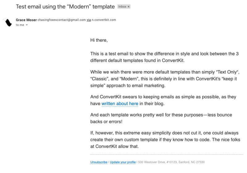 "A test email sent with ConvertKit showing the ""Modern"" template"