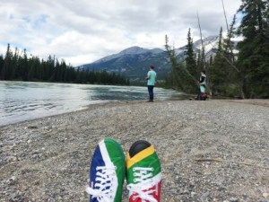 Fishing Maligne beach