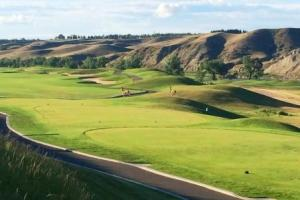 A pair of mule deer running on the golf course