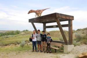Dinosaur bus stop