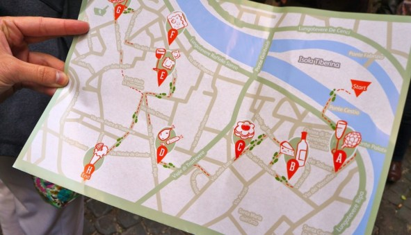 Trastevere map Eating Italy Food Tour