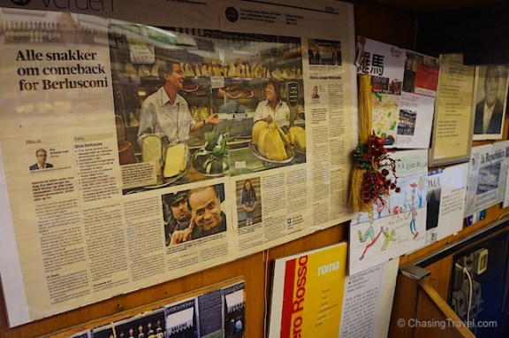 Signore Roberto's spread in the local newspaper between teeny tiny Obama and Berlusconi
