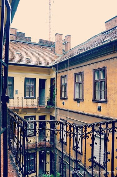 Our romantic balcony and courtyard in Budapest