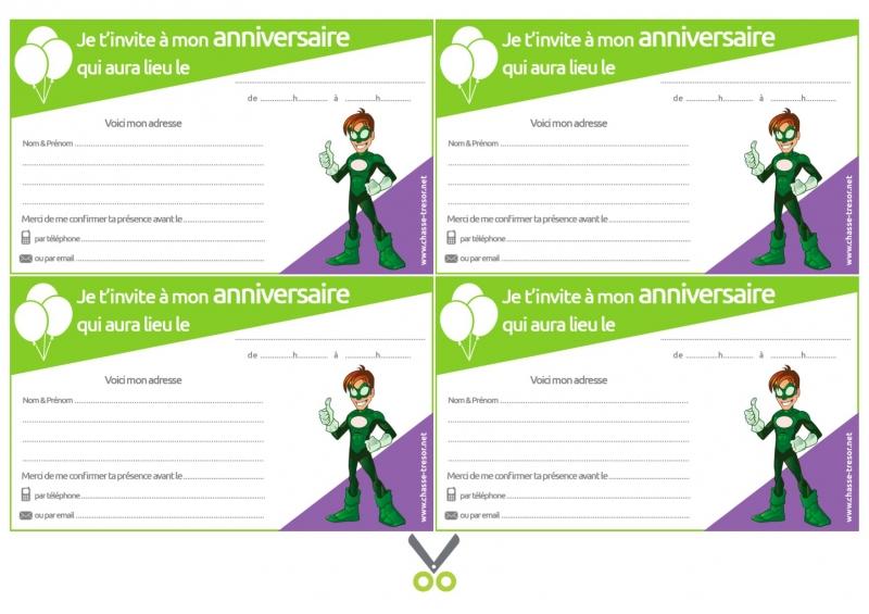 invitations a imprimer pour anniversaire super heros