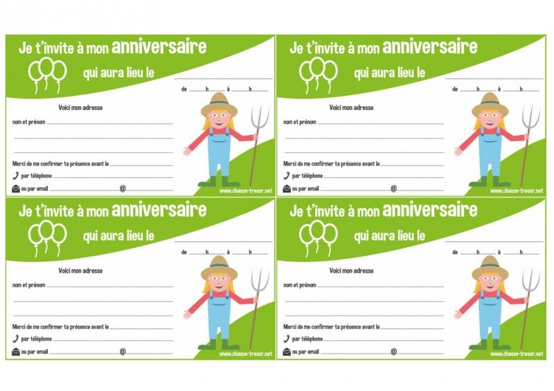 invitations a imprimer pour anniversaire la ferme