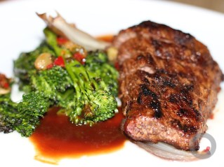 Beef – Creekstone farms butchers filet, fire roasted broccolini, pepperoncini and raisin salsa, sweet onion butter
