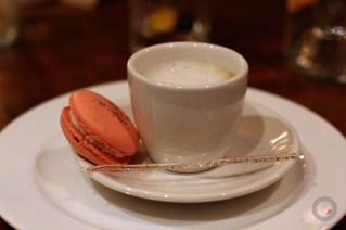 "Foie gras ""cortadito"" double espresso, foie gras espuma, celery root macaroon, cayenne swizzle stick"