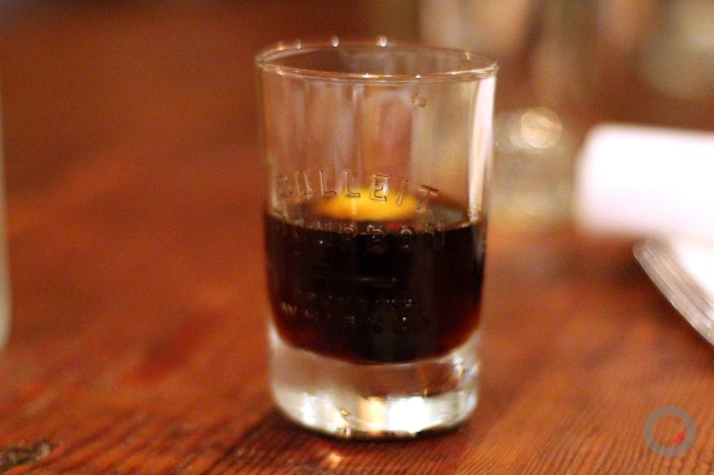 """The Stray Bulleit"" Bulleit 10yr, Galliano Ristretto, Antica Formula, Mole Bitters, Filthy Black Cherry, Burnt Orange"