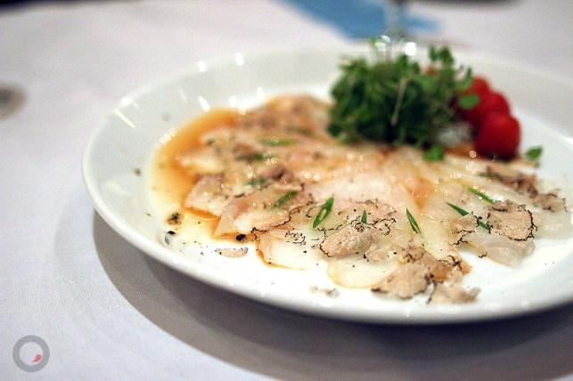 Halibut Sashimi with Sliced Truffles