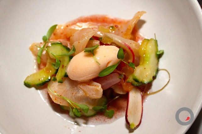Salt & Sugar Cured Florida Cobia, Cucumbers, Brined Radish, Spicy Melon Sorbet and Consommé