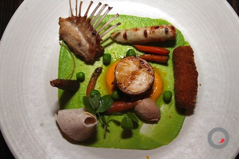 Rabbit (Loin + Mortadella + Rack + Merguez + Rillettes) with Heirloom Carrot Agro Dolce