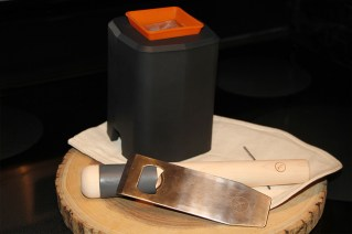 Clear Ice Mold, Lewis Bag, Chisel (doubles as bottle opener) and Muddler