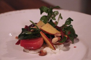 Insalata di Barbabietola with beets, gorgonzola, watercress, peaches, almonds