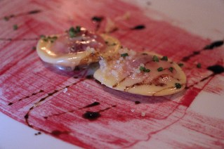 Ravioli di barbabietola filled with beets, goat cheese and topped with aged balsamic