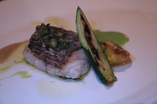 Oven roasted snapper, zucchini, lemon caper vinaigrette
