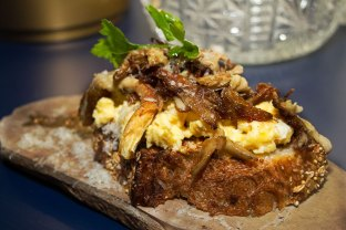 White Oyster Mushrooms – Soft Scrambled Homestead Eggs, Bourbon Mustard, Parmesan, ZTB bread