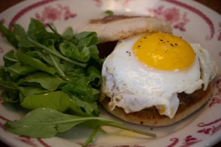 "Egg ""MacShaker"" with house squealer burger, fried egg, bourbon mustard on an english muffin"