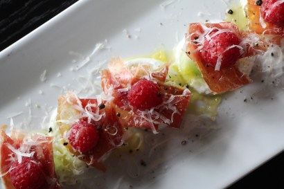 Meló – melon, yogurt, raspberries, grated manchego cheese, jamón ibérico