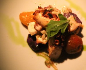 Grilled Octopus - purple potatoes, capers, heirloom tomato