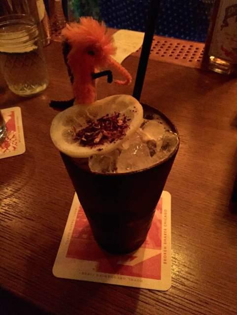 Da Mickey Finn Bird – hibiscus grenadine, averna amaro, cynar, citrus, shaken with black strap rum