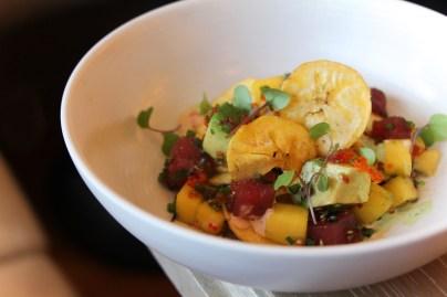 Ticos Tuna with avocado, mango, plantain chips and spicy mayo