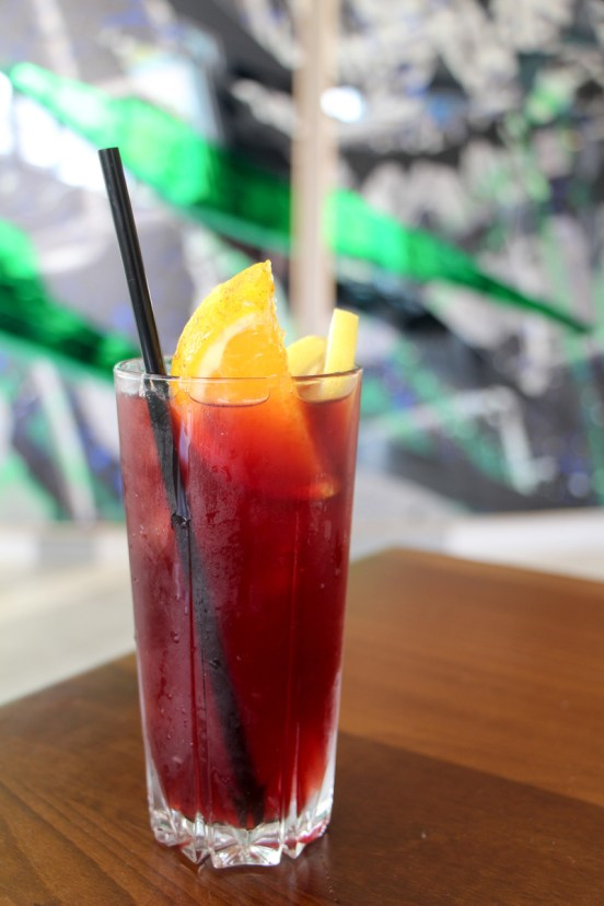 Tinto de Verano made with red wine, carbon antica vermouth, lemon and sprite