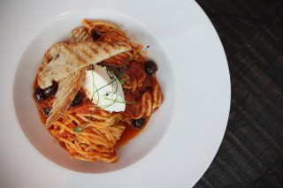 "Spaghetti alla Chitarra made with Marky Ramone's ""drum-punk"" tomato sauce and topped with lemon ricotta and olives"