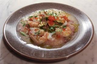White fish Tiradito, avocado, Chilean Green Onion, Salmon roe & Togarashi