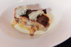 Black cod, potato & vanilla coulis, savoy cabbage & chickpeas
