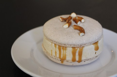 Salted Caramel Topped Macaron with Crunchy Pretzels