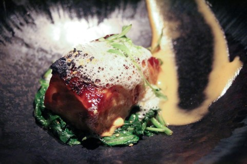 Miso Sea Bass – saikyo miso, spinach, coconut foam, garlic confit