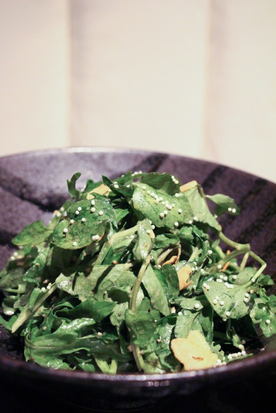 Mizuna – greens, watercress, ume shiso, crispy garlic, rice pearls