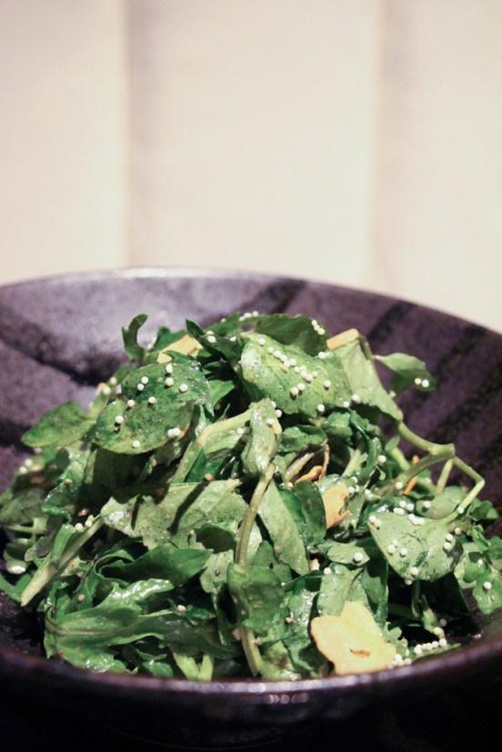 Mizuna – greens, watercress, ume shiso, crispy garlic, rice pearls
