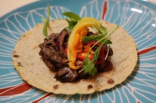 Vegan Hongos – Farm to kitchen mushroom mix, panther coffee mole, squash blossom