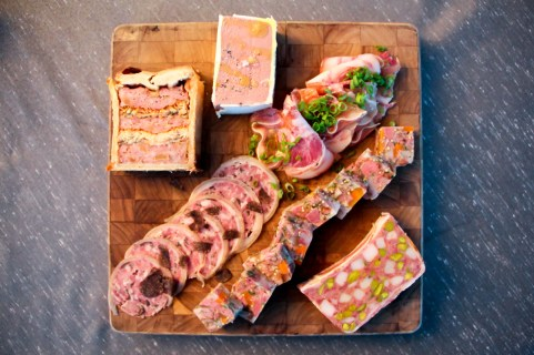 Terrine en croute; duck heart and Sicilian pistachio terrine; foie gras, chicken liver, and truffle pate; smoked hock and head cheese; truffle-stuffed trotter; and a soy-cured pig face