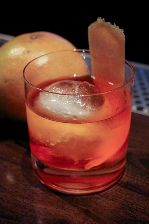 """Barrel-aged"" Negrito with Corzo Reposado, Lillet Rosé, Aperol, and grapefruit."