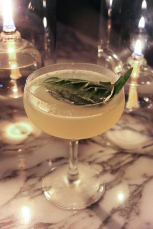 Sorrento made with Oxley Gin, prosecco, house-made limoncello, simple syrup and basil