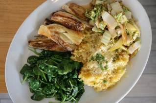 Spaghetti Squash with Parmesan and butter, Sweet & Sour Cabbage with sautéed apples and Roasted Fennel.