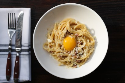Carbonara Pasta made with schellers bacon, parmesano and black pepper