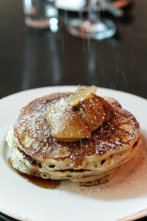 Anson Mills Johnny Cakes with cinnamon apples and maple syrup