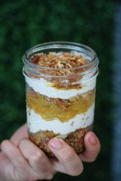 Yogurt Parfait with granola, local honey and fruit compote