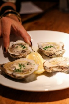 Grilled Oysters doused in bone marrow butter
