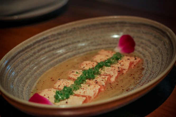 Salmon Demon Slayer – sweet miso, jalapeño, shallots, sake